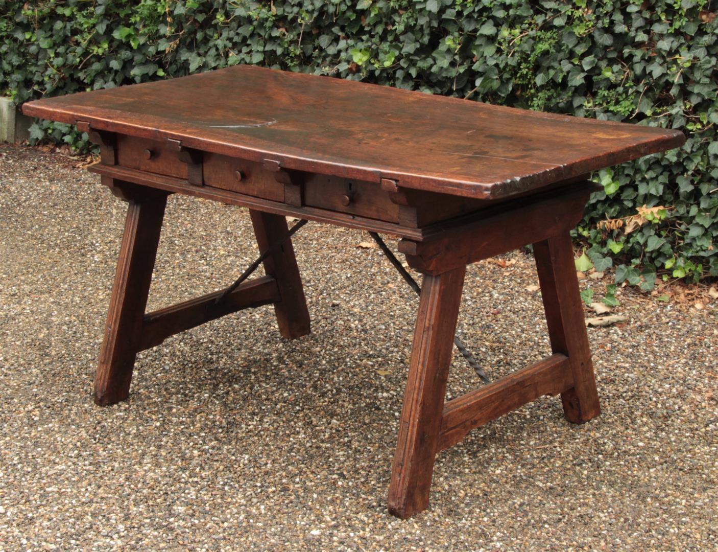 Antike Tisch Kastanie Spanien 1670 17 Jahrhundert